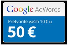 Uzmi svojih 40€ kredita za google oglase ..